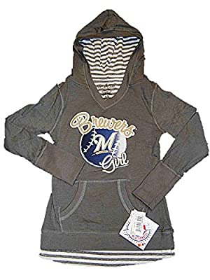 Milwaukee Brewers SAAG Youth Girls Gray Hooded Long Sleeve Pullover T-Shirt