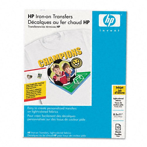 HP Products - HP - Iron-On Transfers, 8-1/2 x 11, White, 12/Pack - Sold As 1 Pack - Easy to use-just iron on, let cool then peel off paper backing. - Bright, bold colors stand up to washing. - Works best on white fabrics. - Use for T-shirts, mouse pads, bags and more! -