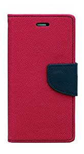 Cover Wala Best Quality Jeans Fabric Flip Cover with Excellent Fitting for Lenovo Vibe K5 Plus - Pink