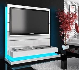 tv wand paneel element wei hochglanz mit tv halterung. Black Bedroom Furniture Sets. Home Design Ideas