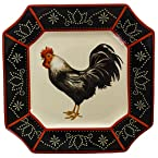 Stoneware Left-Facing Black Rooster Dinner Plate