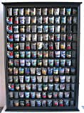 144 Shot Glass Display Case Holder Cabinet Shadow Box, Hinged Door, Solid Wood, Black Finish (SC16-BLA)