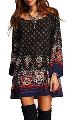 Relipop Women's 3/4 Sleeve Ethnic Style Bohemian Printed Mini Floral Tunic Dress (Small, Type 8)