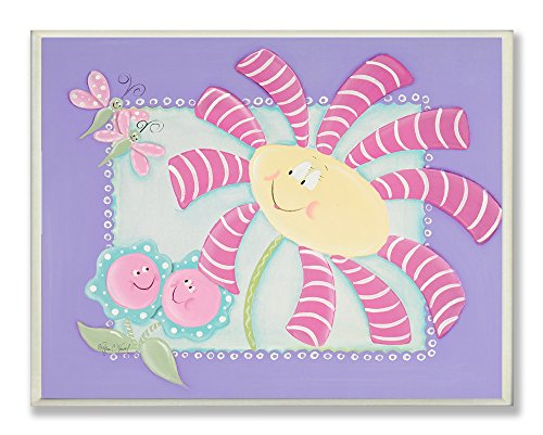The Kids Room by Stupell Happy Flowers with Dragonflies Rectangle Wall Plaque