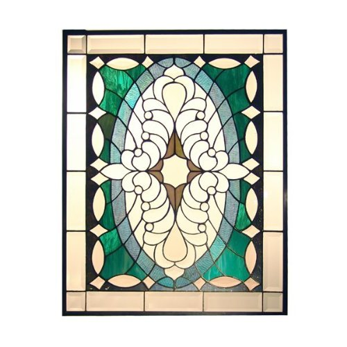 Dale Tiffany SC0127 Clairmont Art Glass Window Panel , 21-Inch by 28-Inch