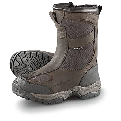 "Men's Guide Gear 2000 gram Thinsulate Ultra Insulation Waterproof 11 1/2"" Side - zip Boots Brown, BROWN, 8"