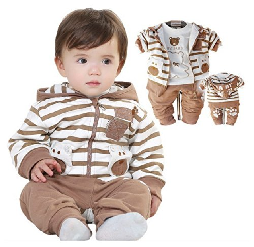 SOPO Baby Boy 3 Piece Outfits (Bear Strip Hood Jacket Tshirt Pants) Brown 9-24m