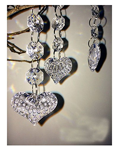 30PCS Heart Acrylic Crystal Beads Beads Garland Chandelier Hanging Wedding Party Decor (Crystal Heart Garland compare prices)
