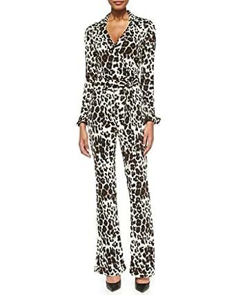 Amazon.com Diane Von Furstenberg Silk Jersey Long Sleeve Wrap Jumpsuit In Snow Cheetah Large (4 ...