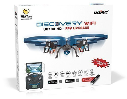UDI U818A WiFi FPV RC Quadcopter Drone with HD Camera - VR Headset Compatible - Low Voltage Alarm, Gravity Induction and Headless Mode - Includes BONUS BATTERY + Power Bank (Quadruples Flying Time) - FAA Registration NOT Required