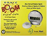 Sonic Alert SBT425ss Digital Sonic Boom Loud Vibrating Alarm Clock with Telephone Signaler