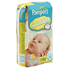Pampers Diapers, Size N (Up to 10 lb), Sesame Beginnings, Jumbo 36 diapers