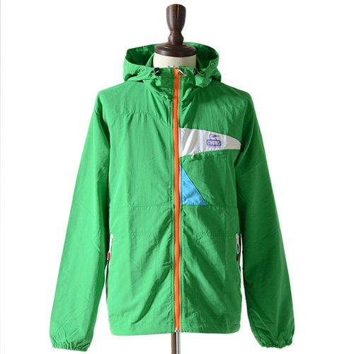 CHUMS チャムス ナイロンジャケット Booby Face JKT CH04-0640 フード付き ナイロン ジャケット ジップアップ ブルゾン メンズ 正規取扱品 (S, 1.Green)