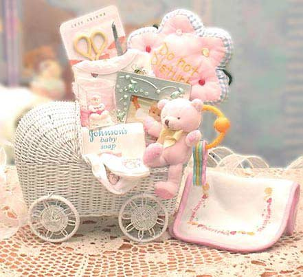 Bundle of Joy Baby Carriage Gift Basket - Pink for Girl