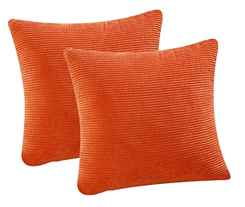 Pack of 2 Throw Pillow Covers (in 8 Colors and 7 Sizes) Comfortable Soft Corduroy Corn Striped Pillow Case (22