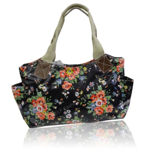 Gossip Girl - Floral Flower Oilcloth Day Bucket Bag Tote Handbag - BLACK