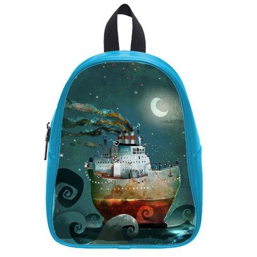 Generic Custom Painting Boat Moon Blue Sky Printed Deep Sky Blue School Bag Backpack Fit Short Trip Pu Leather Medium front-62941