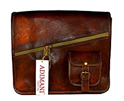 ADIMANI Vintage Fresh Leather Sling Bag 14x4x11 Inches Handmade Leather Laptop Messenger Bags Unisex Brown