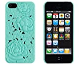 Rose Flower 3D Design Slim Fit Hard Case for Apple iPhone 5, 5G (AT&T, Verizon, Sprint, International) - Includes DandyCase Keychain Screen Cleaner [Retail Packaging by DandyCase] (Mint Green)