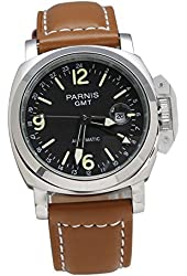 Fanmis Black Dial GMT Automatic Luminous Gorgeous Sullumination Brown Leather Men's Womens Wrist Watches