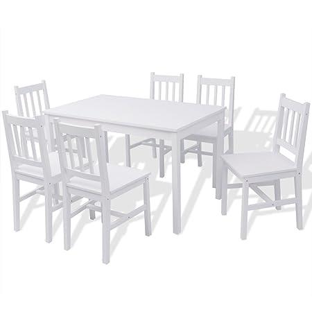 Festnight 7Stk.-Set Essgruppe mit Esszimmertisch + 6 Essstuhle Kuchentisch Esszimmerstuhl Esstisch-Set aus Pinienholz Weiß