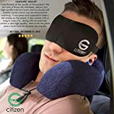 CitizenG Bamboo Memory Foam Cooling Gel Travel Pillow Pack Bundle with Eye Mask, Ear Plugs, Carry Bag and eBook