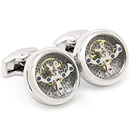 GOHUOS Steampunk Watch Movement Mechanical Cufflinks Old Vintage Mechanical Silver Watch Tourbillon Cufflinks with Gears Round
