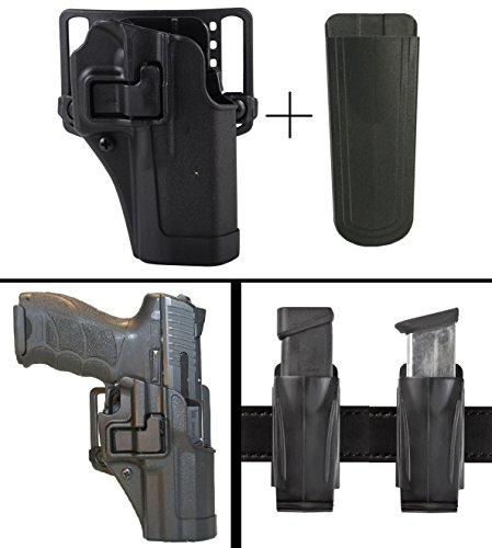 BlackHawk S&W Smith & Wesson M&P Shield Right Hand CQC Serpa Concealment Holster + Ultimate Arms Gear 9mm/.40/.45 Magazine Belt Clip Pouch Holder, Black