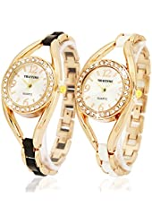 ThaiTime 2pcs New Pretty Woman Girls Elegant Quartz Wrist Watch