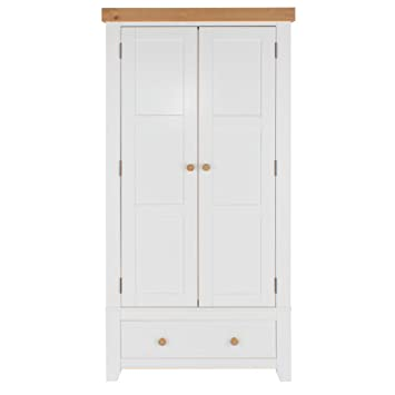 Core Products Two Door and Drawer Wardrobe, White with Antique Wax Top