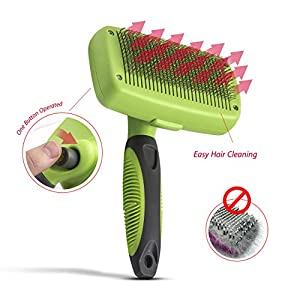 Petio Basics - Self Cleaning Slicker Brush with Ergonomic Non-Slip Handle for Pet Grooming Gently Removes Tangled Matted Fur from Cats and Dogs and Reduces Shedding