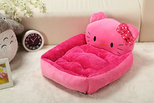 Cartoon Plush Pet Bed Soft Cotton Dog Cat Bed Hello Kitty (M(45*35*15cm))