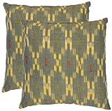 Safavieh Pillow Collection Diamond Iris 22-Inch Decorative Pillows, Grey and Yellow, Set of 2