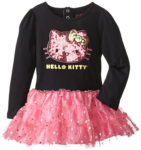 Hello Kitty Little Girls' Sequin Applique Twofer Dress, Anthracite, 4T front-935523