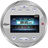 Lanzar AQR82S Aquatic Waterproof Bluetooth Marine Digital Receiver Stereo Radio, USB/MP3/AM/FM/AUX Input, Round/Circle