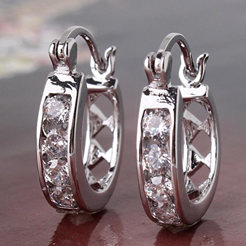 High Quality 18K White Gold Plated Hollow Out Hoop Earrings Round Crystal Earring For Womens Wedding Jewelry E306A