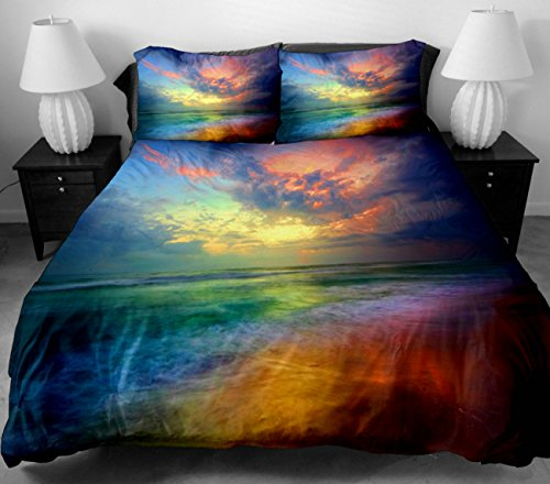 Anlye Bedding Set 2 Sides Printing The Colorful Clouds For Home Decoratoring Bed Top Sheets With 2 Silk-Like Pillowcase Queen front-597620