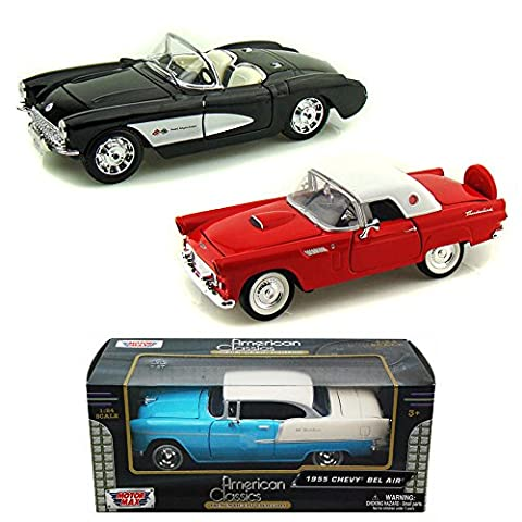 Best of 1950s Diecast Cars - Set 43 - Set of Three 1/24 Scale Diecast Model Cars - 1956 Chevy Corvette