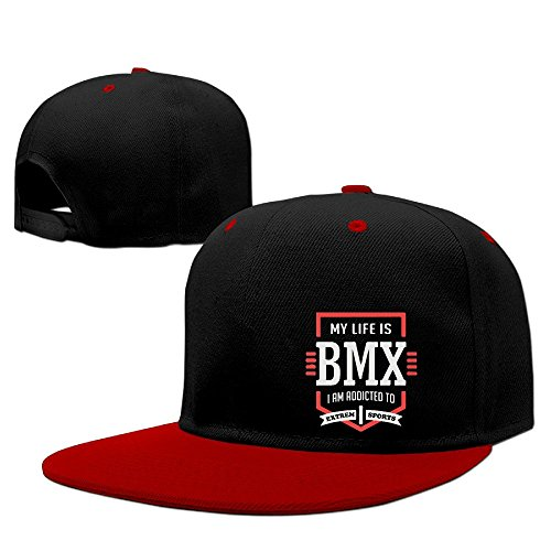 Fashion My Life Is BMX Extreme Sport Baseball Cap Hip-Hop Peaked Cap Red (Mens Peaked Hats compare prices)