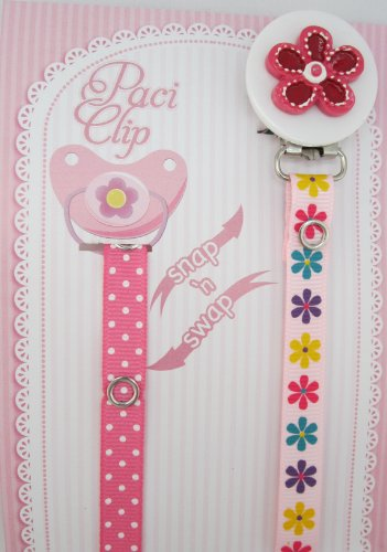 Pink Flower Ribbon Pacifier Clip