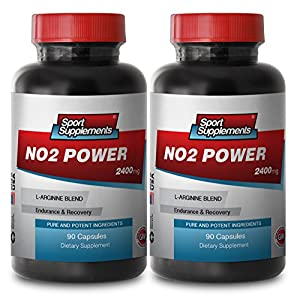 NO2 Power - Premium Nitric Oxide. Musclebuilding Sport Edition (2 Bottles, 180 Capsules)