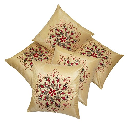Zikrak exim Felt flower patch cushion cover beige 5 pc set 40 x 40 cm