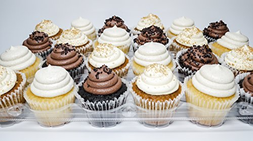 Cupcake Boxes | Set of 4 Clear Plastic Dome 24 Compartment Cupcake Holders With Improved Closing Mechanism (Mini Muffin Bakery Boxes compare prices)