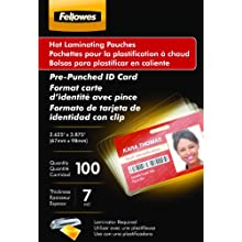 Fellowes Hot Laminating Pouches, ID Tag, Punched, 7 mil, 100 Pack (52050)