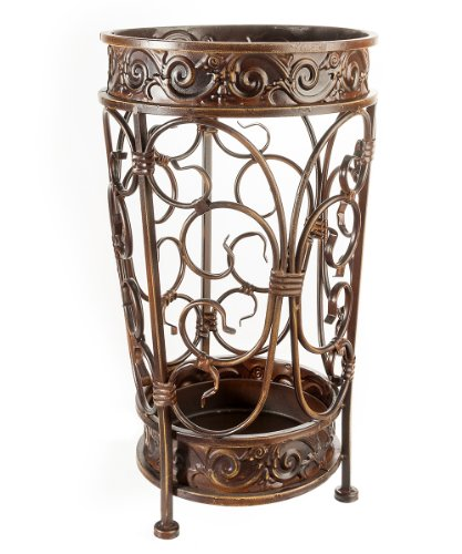 Brelso Super Quality Umbrella Stand, Umbrella Holder, Antique Look Metal, Entry Hallway Décor, Round Style, w/Removable Drip Tray. (Gold-Brown)