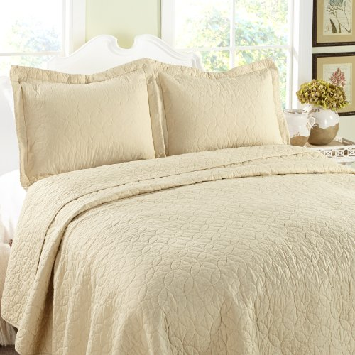 Laura Ashley 3-Piece Cotton Quilt Set, Twin, Toffee front-1052991