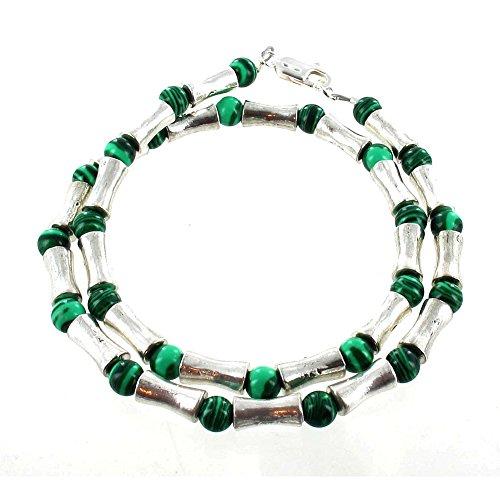 "Timeless Treasures - Mens Beaded Gemstone Tibetan Silver & Malachite Necklace - 16"""