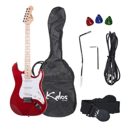 Kalos 1EG-MR 39-Inch Electric Guitar with Gig Bag , 3 Picks, Strap, Amp Cable, and Tremolo Arm - Full Size - Red Metallic