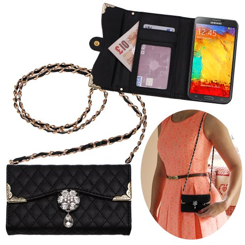 Xtra-Funky Exclusive Luxury Faux Leather Quilted Handbag Purse Style Case With Carry Strap And Beautifully Decorated Crystal Flower For Samsung Galaxy Note 3 - Black (Includes A Mini Stylus And Lcd Screen Protector Film)