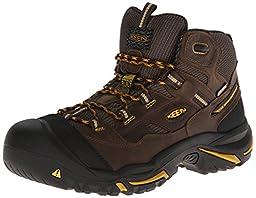 KEEN Utility Men\'s Braddock Mid Steel-Toed Boot,Cascade Brown/Tawny Olive,12 D US